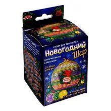 Новогодний шар пайетками с мини-открыткой Цветочный узор