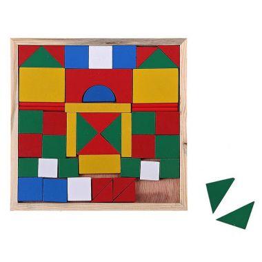 Конструктор, 52 цветные детали в деревянной коробке на тонком основании