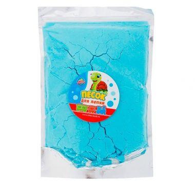 Песок для лепки, пакет с многоразовой застежкой, 500 гр, цвет голубой