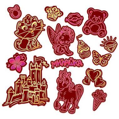 Гравюры-наклейки Милашка с металлическим эффектом - золото, розовый, 2 шт. + штихель