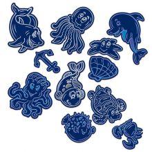 Гравюры-наклейки Подводный мир с металлическим эффектом - синий, серебро, 2 шт. + штихель