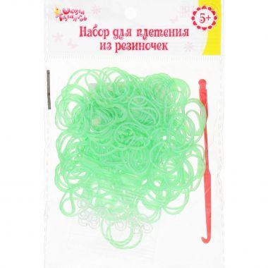 Резиночки для плетения, набор 200 шт, крючок, крепления, цвет светло-зелёный