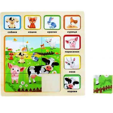 Рамка-вкладыш с пазлом Животные на ферме 16 элементов