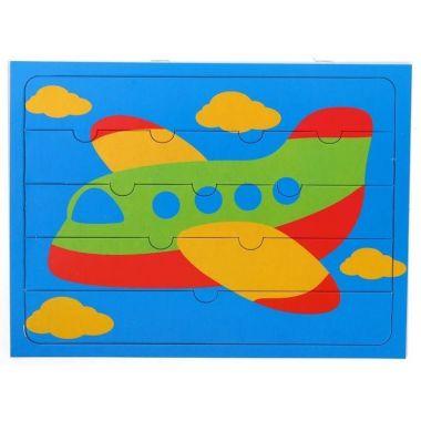 Пазлы для малышей Самолетик, 5 элементов+раскраска