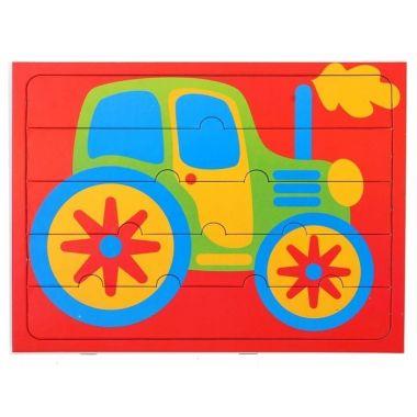 Пазлы для малышей Трактор, 5 элементов+раскраска