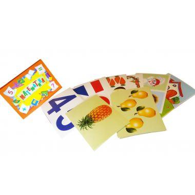 Математика. Цифры. Знаки. Геометрические фигуры. 32 карточки на картоне.